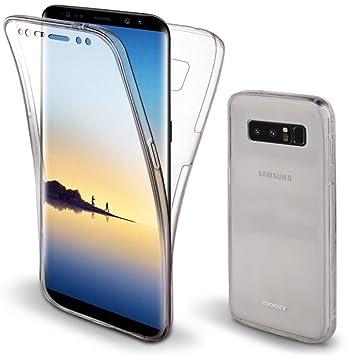 Moozy Funda 360 Grados para Samsung Note 8 / Galaxy Note8 Transparente Silicona - Full Body Case Carcasa Protectora Cuerpo Completo