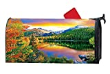 Mailbox Cover Magnetic, Autumn Decorative Mailbox Wrap for Standard Steel/Meal Mailbox, All Weather Vinyl, 6.5'' x 19'' - Autumn Lake Estes Park Colorado