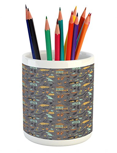 Lunarable Cartoon Pencil Pen Holder, Far Eastern Thai Life Culture and Nature Theme with Doodle Animals Food Elements, Printed Ceramic Pencil Pen Holder for Desk Office Accessory, Multicolor by Lunarable
