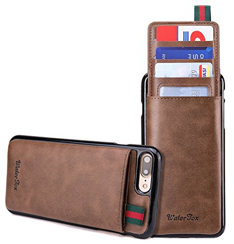 iPhone 8 Plus / iPhone 7 Plus Wallet Case, WaterFox Leather Card Holder Cases for Men, Hidden Credit Card Holder / ID Card Slot & Money Pockets, Protective Butterfly Flower Pattern Cover - Coffee