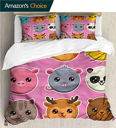 (carmaxs-home Kids Quilt 3 Piece Bedding Set,Box Stitched,Soft,Breathable,Hypoallergenic,Fade Resistant with Sham and Decorative 2 Pillows,Full Queen-Kawaii Zoo Animals Pattern Panda (90