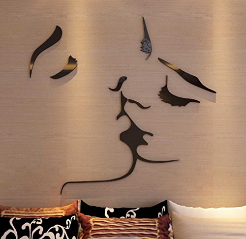 3d Kiss Wall Murals for Living Room Bedroom Sofa Backdrop Tv Wall Background, Originality Stickers Gift, DIY Wall Decal Wall Decor Wall Decorations by DecorSmart