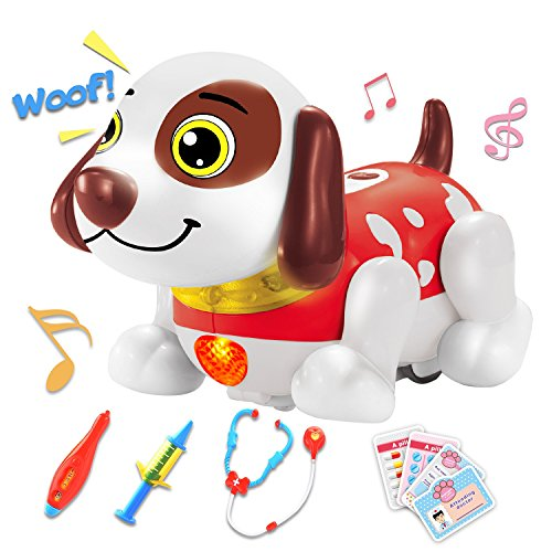 Electronic Pet Dog Interactive Toys Vet Kit for 2,3 and 4 Years Old Boys & Girls Gift Puppy Doctor Pretend Play Set with Responds to Touch Dance, Music, Accessories Stethoscope & Dog Sounds