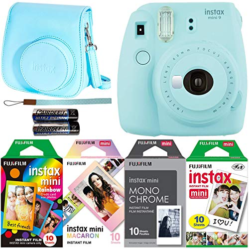 Fujifilm Instax Mini 9 Ice Blue Instant Camera with Four Fun Film Packs – Rainbow, Macaron, Monochrome and White – 40 Exposures with Accessories