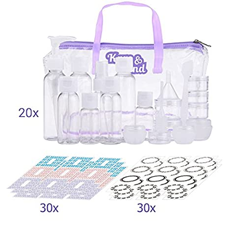 Travel Bottle Set - Refillable - TSA/Airline Approved - 8 Bottles and 9 Jars - 3 Tools (Pipette, Funnel and Mini Spatula) - For Downsized Portions of Your Favorite Cosmetics, Lotions and (Travel Set)