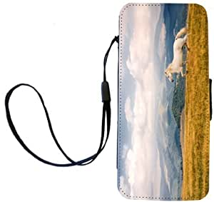 Rikki KnightTM White Galloping Mountain Horse Design iPhone Apple 5c PU Leather Wallet Type Flip Case with Magnetic Flap and Wristlet for Apple iPhone 5c