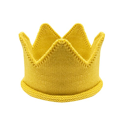Wrapables Baby Boy & Girl Birthday Party Knitted Crown Headband Beanie Cap Hat, Yellow,One Size -