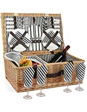 ZORMY Willow Picnic Basket for 4 Persons with Insulated Cooler Bag, Wicker Picnic Hamper Set with Utensils Cutlery - Perfect for Picnicking, Camping, or Any Other Outdoor Event