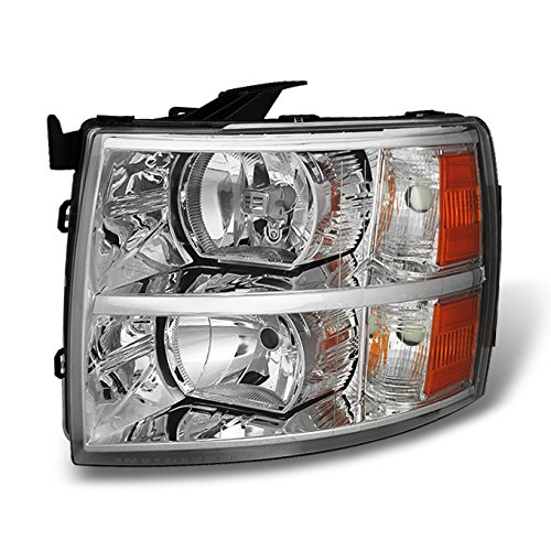 For 07-13 Chevy Silverado Pickup Truck Chrome Headlight Front Lamp Driver Left Side Driect Replacement