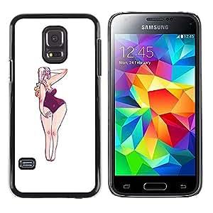 Shell-Star Arte & diseño plástico duro Fundas Cover Cubre Hard Case Cover para Samsung Galaxy S5 Mini / Samsung Galaxy S5 Mini Duos / SM-G800 !!!NOT S5 REGULAR! ( Hourglass Figure Woman Art Beach Blonde )