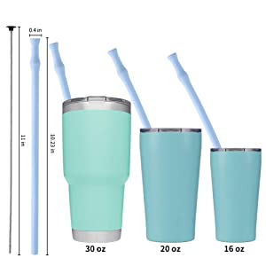 Vantic Collapsible and Reusable Silicone Straws, Portable Folding Drinking Straws, BPA Free with Travel Case & Cleaning Brush, Suitable for 20 or 30 oz Tumblers-Pink&Blue Case