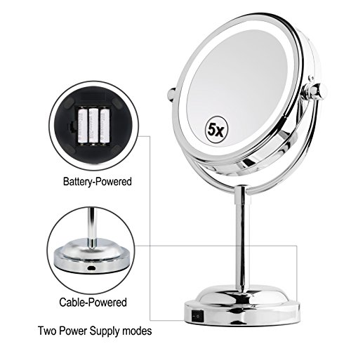 Battery Powered Bathroom Mirror Light: MY CANARY LED Makeup Mirror With