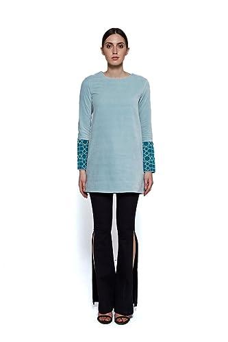 IMAIMA Women Full Sleeve Embroidered Blue Cotton Velvet Long Winter Jumper