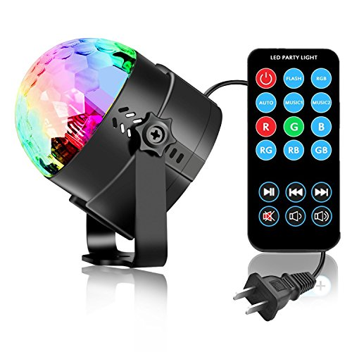 SUKY Disco Ball Disco Light 3w Party Lights led Music Atctivated Strobe Lights for Home Room Dance Parties DJ Lightshow for Birthday Club Karaoke Wedding -