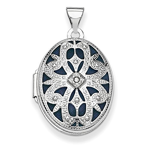 14K White Gold 21mm Oval w/ Diamond Vintage Locket by Jewelry Pot