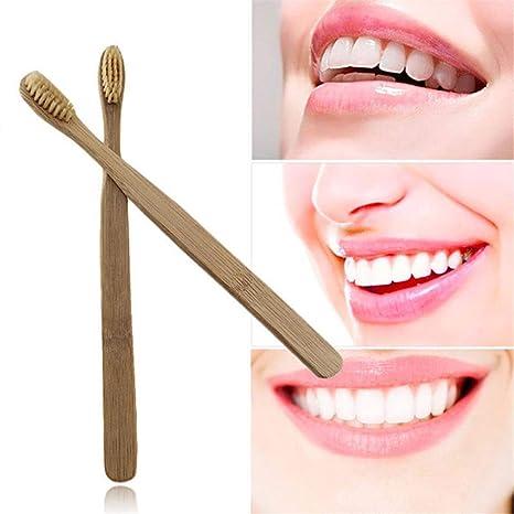 Huhuswwbin Cepillo de dientes de bambú natural con cerdas suaves para adultos