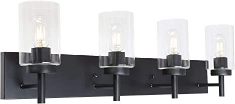 Vinluz 4 Lights Bathroom Vanity Light Fixture Black Sconces Wall Lighting Modern Industrial Indoor Wall Mounted Lamp Farmhouse Style Wall Light For Kitchen Living Room Dining Room Amazon Com
