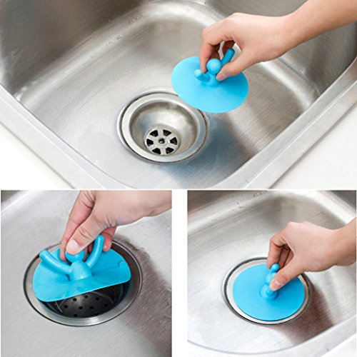 1 Piece Silicone Kitchen Bathroom Floor Drain Cover for Basin Sink Sewer - Kitchen Sink Stopper - Sink Drain Stopper - RANDOM COLOR - Silver Laundry Pedestal