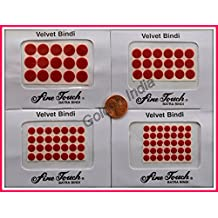 RED Velvet Dot Bindi Tattoo Assorted Colors 95 Stickers Adhesive Body Jewelry By Golden India P54