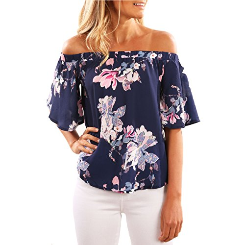 YeeSure Off the Shoulder Floral Top Shirt TS06 Sexy Loose Fit Cold Shoulder Tee for Women (M, Blue)