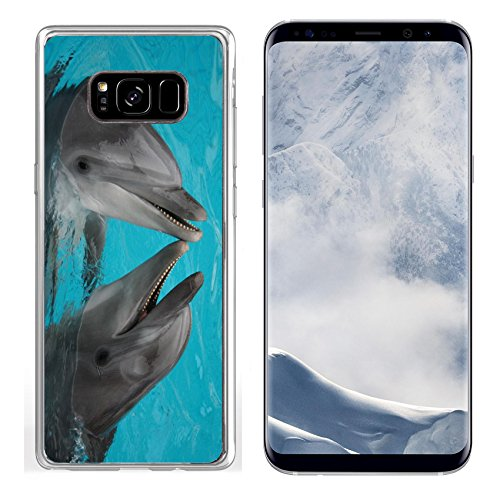 MSD Samsung Galaxy S8 plus Clear case Soft TPU Rubber Silicone Bumper Snap Cases IMAGE ID: 624765 funny bottle nosed dolphins dancing in the water
