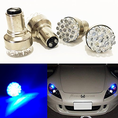 Front Blue Led - Mega Racer Combo 2 Pair 1157 Ultra Blue LED 19 Chip BAY15D P21/5W (Front Parking Light Bulb) 1157A 2057 2057A 2357A 2040