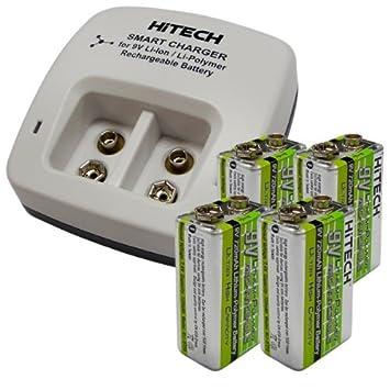 Amazon.com: Hitech – cuatro baterías de polímero de 9 V y ...