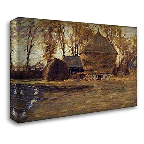 ArtDirect Sussex Hayricks 38x28 Gallery Wrapped Stretched Canvas Art by La Thangue, Henry Herbert