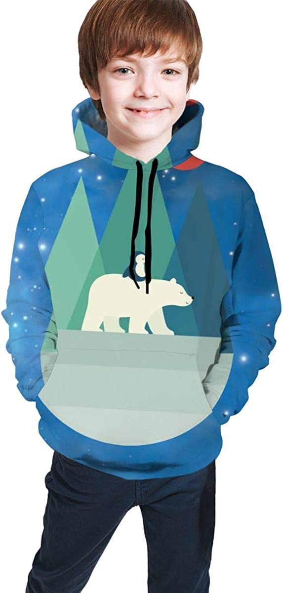 Polar Bear Student Hoodie Sweater Pullover Drawstring Pocket Durable Sports Shirt for Students