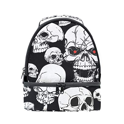 HEOEH Scary Skull Red Eye Fuck Finger Lunch Bag Insulated Lunch Box Cooler Tote Bag Adjustable Strap Handle