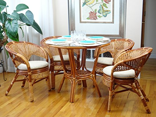 (5 Pc Pelangi Rattan Wicker Dining Set Round Table Glass Top + 4 Arm Chairs. Colonial Color)