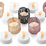 Frux Home and Yard Flameless LED Tea Light Candles - Bonus Decorative Holder Wraps Included, Battery Operated, Flickering Votive Fake Tealights - 24 pack