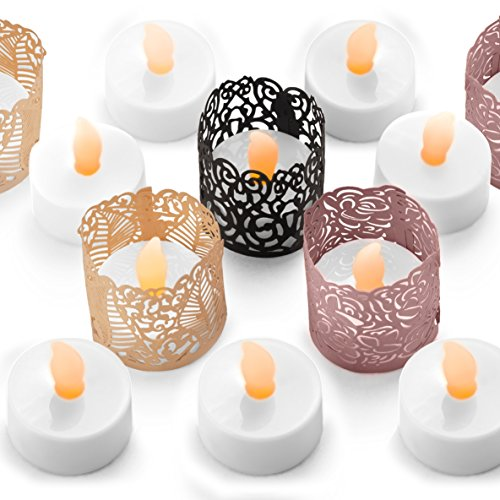 FLAMELESS TEA LIGHT SET 24 Flickering LED Battery Operated Tealight Candles With BONUS Votive Holder Wraps Included - Decorative & Safe Lighting - Ideal for Gifts, Mantel, Party, Weddings, Night Light (Plastic Tealight Holders)