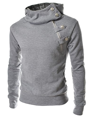 TheLees (R4BH) Mens Casual Luxury Buckle Hoodie Slim Cotton Sweatshirts GRAY US XL(Tag size 3XL) by TheLees