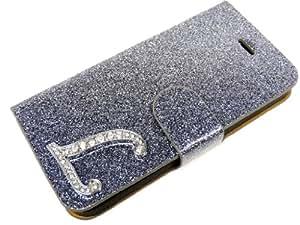 Exklusive-Cad LG-OPT-L5-E610-Etui-Glamour-L-Grau LG Optimus L5 E610 Glamour Glitzer Strass Carcasas Carcasa del tirón Tasche carcasa Hülle mit Magnetverschluss - Buchstabe L en Grau