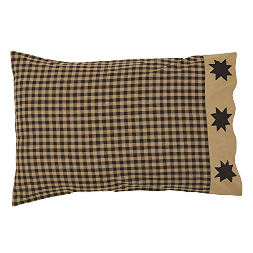 VHC Brands Classic Country Primitive Bedding - Dakota Star Black Pillow Case Set, Standard (Log Cabin Throw Quilt)