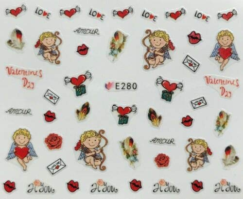 Nail Art 3D Decal Stickers Valentine's Day Cherub Love Letter Heart w Wings E280