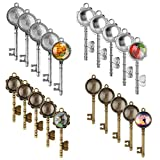 Accmor 20 Pcs Vintage Skeleton Keys Pendant Trays with 20 Pieces Glass Dome Tiles Cabochon, Pendant Bezel Blank for Crafting DIY Jewelry Making, Totally 40 Pieces