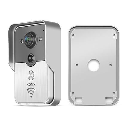 2016 customstyle KONX inalámbrica con Video Doorbell Peehole visión nocturna cámara PIR Detector Android IOS casa