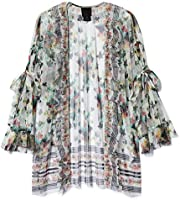 Anna Sui Women'S White Multi Bouquet Bordered Butterflies Tulle Bed Jacket