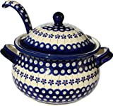 Polish Pottery Soup Tureen with Ladle Zaklady Ceramiczne Boleslawiec 1004/1367-166a Floral Peacock Pattern, 13.4 Cups