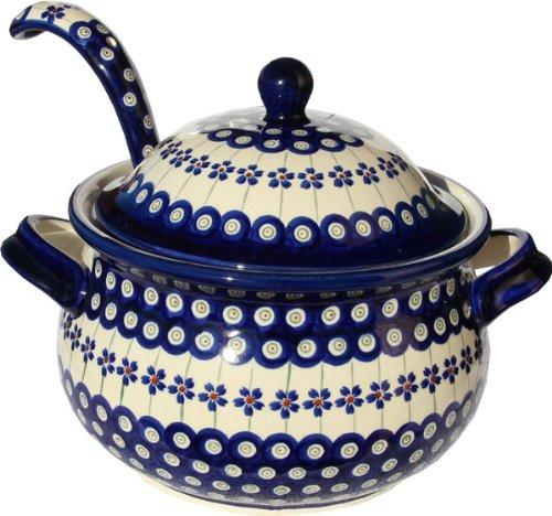 ポーランド食器Soup Tureen with Ladle Zaklady Ceramiczne Boleslawiec 1004 / 1367 – 166 A花柄クジャクパターン、13.4カップ   B003EABZQ6