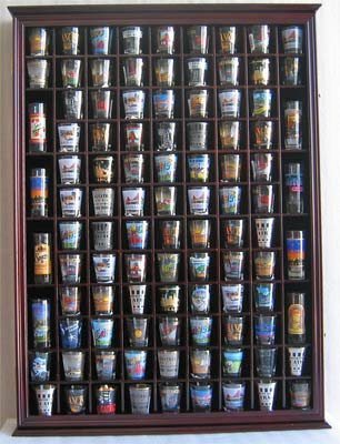 100 Shot Glass Display Case Holder Shadow Box Wall Cabinet, with Acrylic Door (Mahogany Finish) by DisplayGifts (Image #1)
