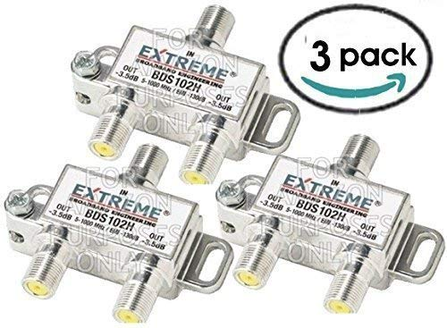 2ghz Rf Splitter 3 Way - 2 WAY EXTREME HD DIGITAL 1GHz HIGH PERFORMANCE COAX CABLE SPLITTER - BDS102H (3 Pack)
