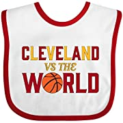Inktastic - Cleveland vs. the World with basketball Baby Bib White/Red