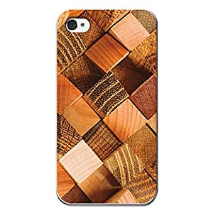 BeCool iPhone 4 iPhone 4S Soft Gel Cover Rubber TPU Square Wood Logs