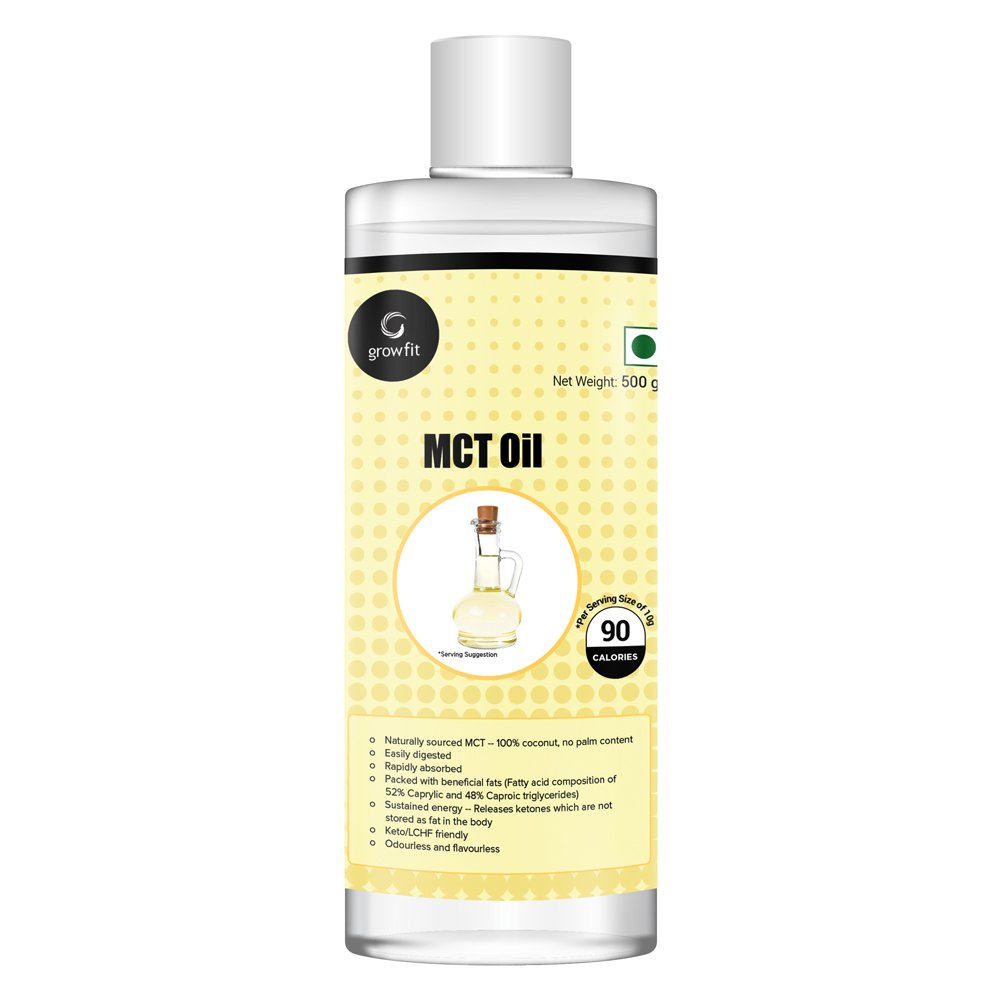 Grow Fit Pure MCT Unsweetened Keto Oil, 500gm