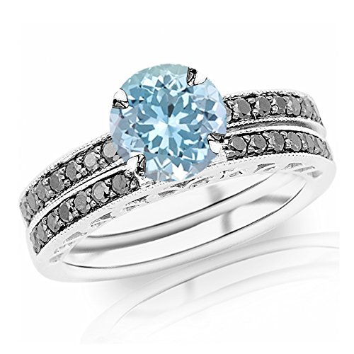1.02 Carat t.w 14K White Gold Pave Set Black Diamond Engagement Ring and Wedding Band Set w/ a 0.75 Carat Round Cut Blue Aquamarine Heirloom Quality