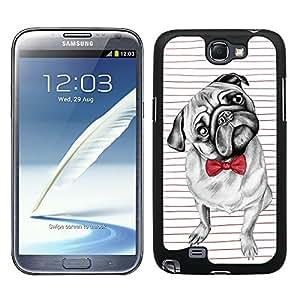 Funda carcasa para Samsung Galaxy Note 2 perro carlino con pajarita borde negro