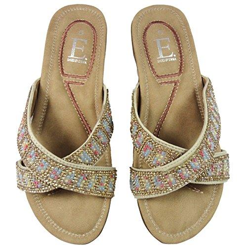 Emma Womens Open Toe Mule Black Beige Flexi Sole Padded Comfort Sandal Shoes Beige ojrFkj3ONT